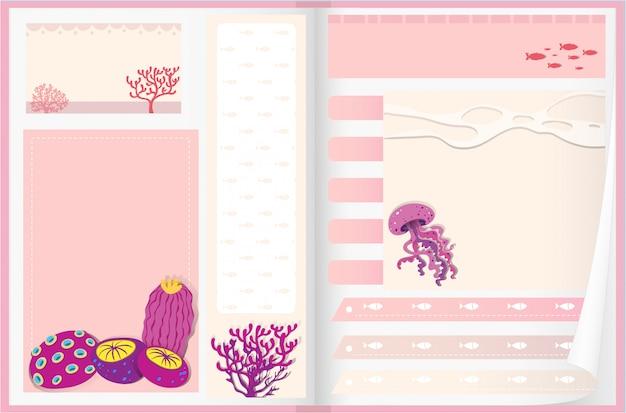 Design de papel com recifes de corais