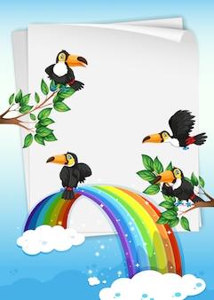 Design de papel com tucanos voando no céu