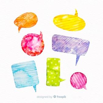 Design de papel de embrulho em bolhas do discurso em aquarela