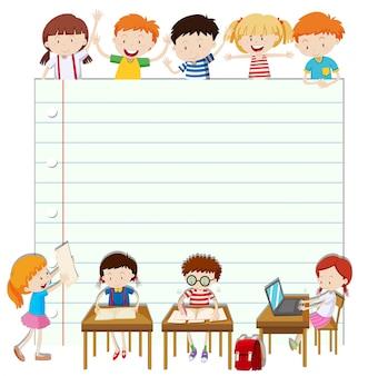 Design de papel de linha com crianças na sala de aula