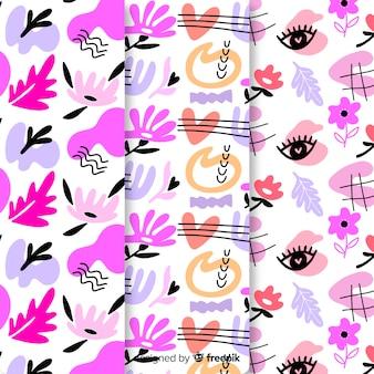 Design de papel de parede com coleção de padrões