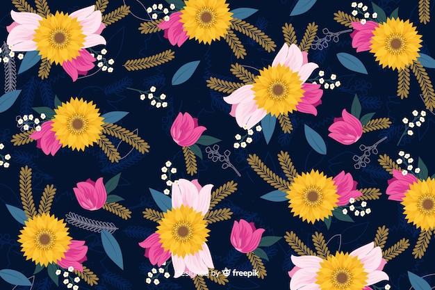 Design de papel de parede com conceito floral