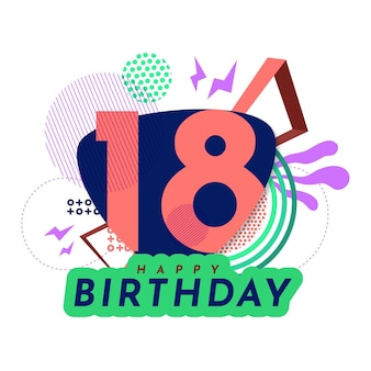 Design de papel de parede de feliz aniversário de 18 anos