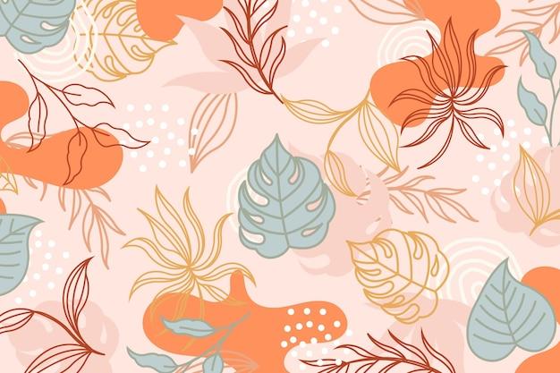 Design de papel de parede de folhas tropicais