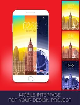 Design de papel de parede de interface móvel com paisagem urbana