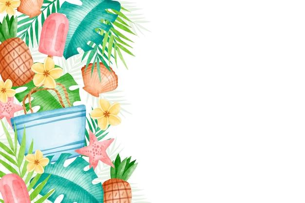 Design de papel de parede de verão em aquarela