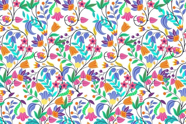 Design de papel de parede floral exótico colorido