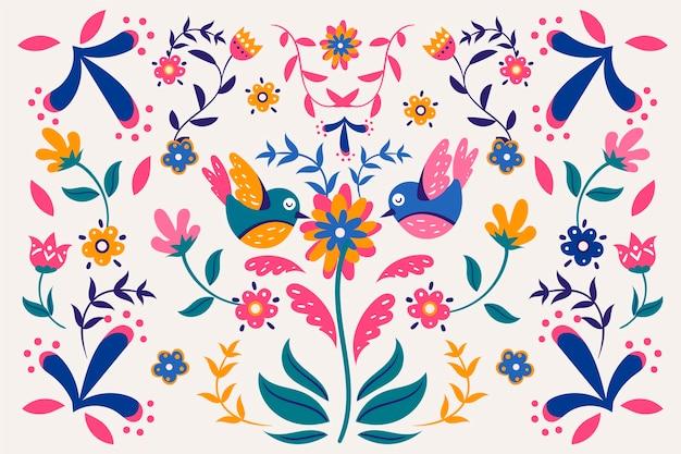 Design de papel de parede mexicano colorido