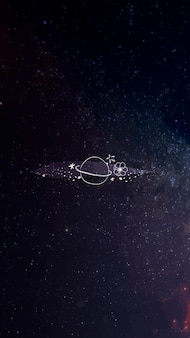 Design de papel de parede móvel de galáxia de arte de linha mínima