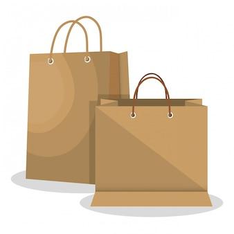 Design de papel do ícone saco loja