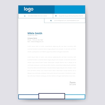 Design de papel timbrado azul