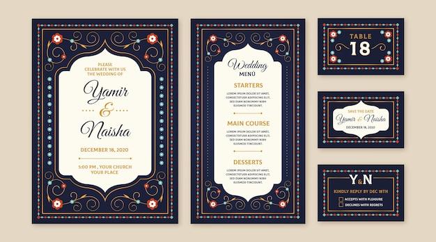 Design de papelaria de casamento indiano