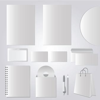 Design de papelaria, modelos corporativos foto-realistas - conjunto de vetores