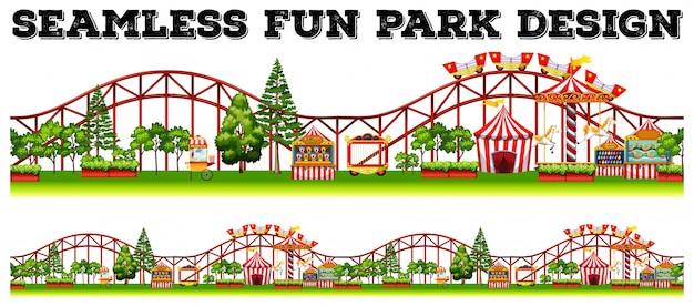 Design de parque de diversões sem costura com muitos passeios