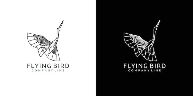 Design de pássaro voador com linhas sofisticadas