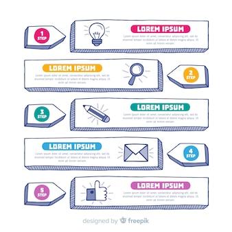 Design de passos infográfico criativo