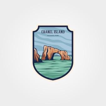 Design de patch do logotipo do parque nacional da ilha de chanel, design de emblema de impressão de viagens