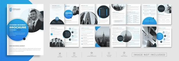 Design de perfil de empresa de 16 páginas de negócios corporativos criativos ou layout de folheto de identidade visual