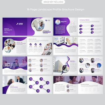 Design de perfil de paisagem de 16 páginas da empresa
