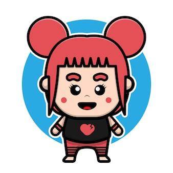 Design de personagem linda garota emo