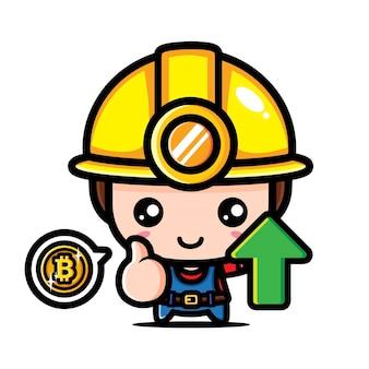 Design de personagem mineiro bitcoin fofo