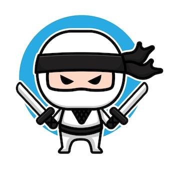 Design de personagem ninja branco fofo