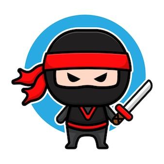 Design de personagem ninja preto fofo