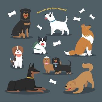 Design de personagem plana bonito de coleção de raças de cães