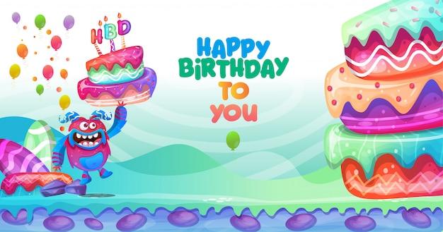 Design de personagens coloridos de fundo de aniversário