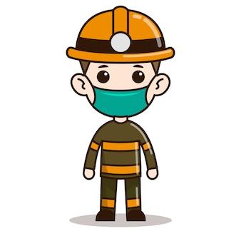 Design de personagens de bombeiro chibi com máscara