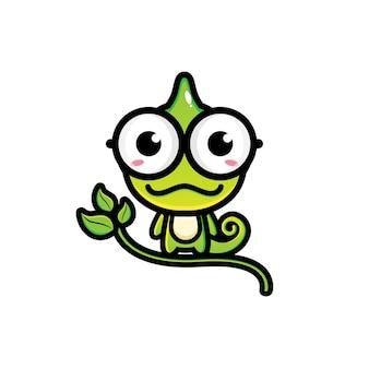 Design de personagens de camaleão bonito