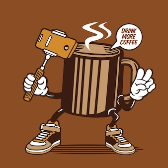 Design de personagens de caneca de café quente selfie