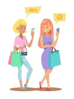 Design de personagens de compras feminino