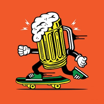 Design de personagens de copo de cerveja de skate de skatista