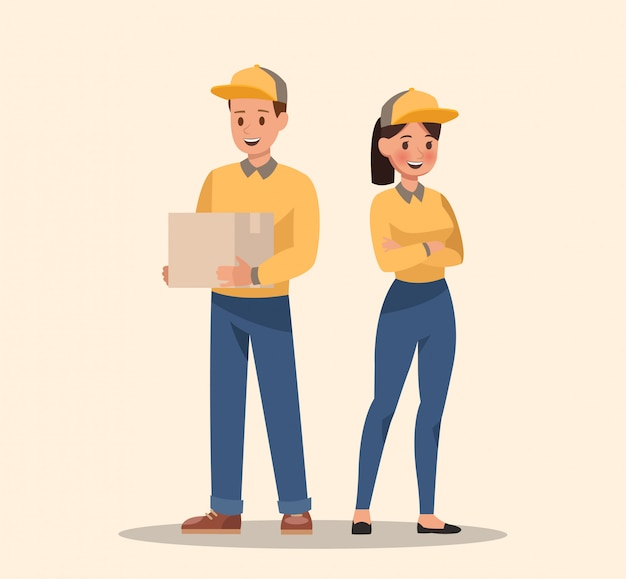 Design de personagens de courier e entrega. equipe de profissionais.