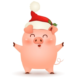 Design de personagens de desenho animado bonito, pequeno porco de natal com natal papai noel chapéu vermelho, agitando as mãos