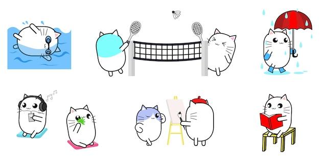 Design de personagens de desenhos animados de gato bonito