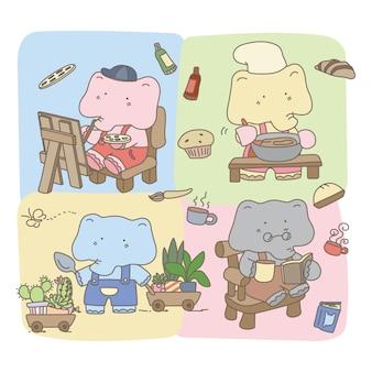 Design de personagens de elefante fofo