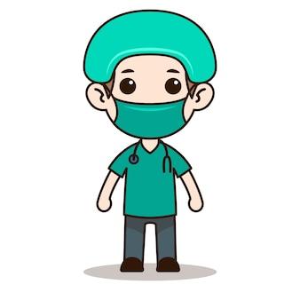 Design de personagens de enfermeira chibi com máscara