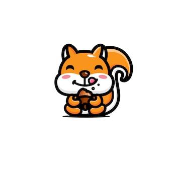 Design de personagens de esquilo bonito