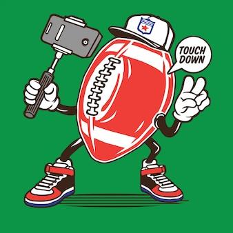Design de personagens de futebol americano selfie