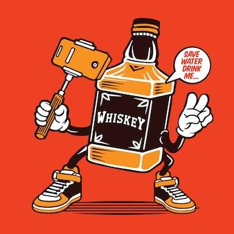 Design de personagens de garrafa de uísque selfie