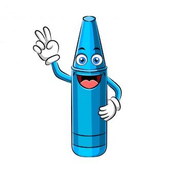 Design de personagens de giz de cera ou mascote de giz de cera
