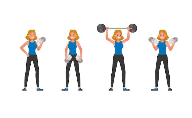 Design de personagens de instrutor de fitness. mulher vestida com roupas esportivas.