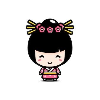 Design de personagens de linda garota japonesa