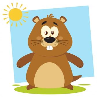 Design de personagens de mascote bonito dos desenhos animados de marmota