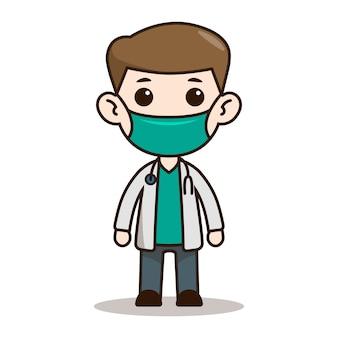 Design de personagens de médico chibi com máscara