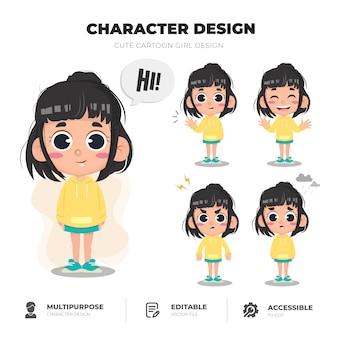 Design de personagens de menina bonito