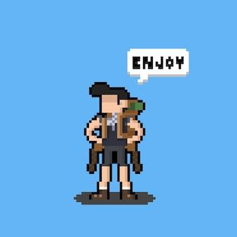 Design de personagens de mochileiros de desenhos animados de pixel art dizendo