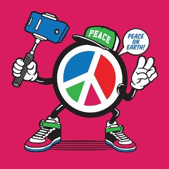 Design de personagens de símbolo de paz selfie